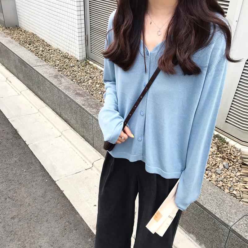 外搭开衫针织外套女春夏短款针织衫防晒衫V领宽松长袖上衣毛衣薄图片