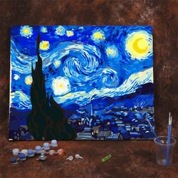 创意手工卡通diy数字油画千与千寻梵高星空系列油彩绘填色装饰画