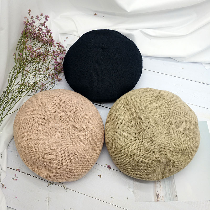 Beret summer autumn womens thin Japanese sweet and lovely knitting bud hat chic Hong Kong Style Chaozhou peoples sunshade hat