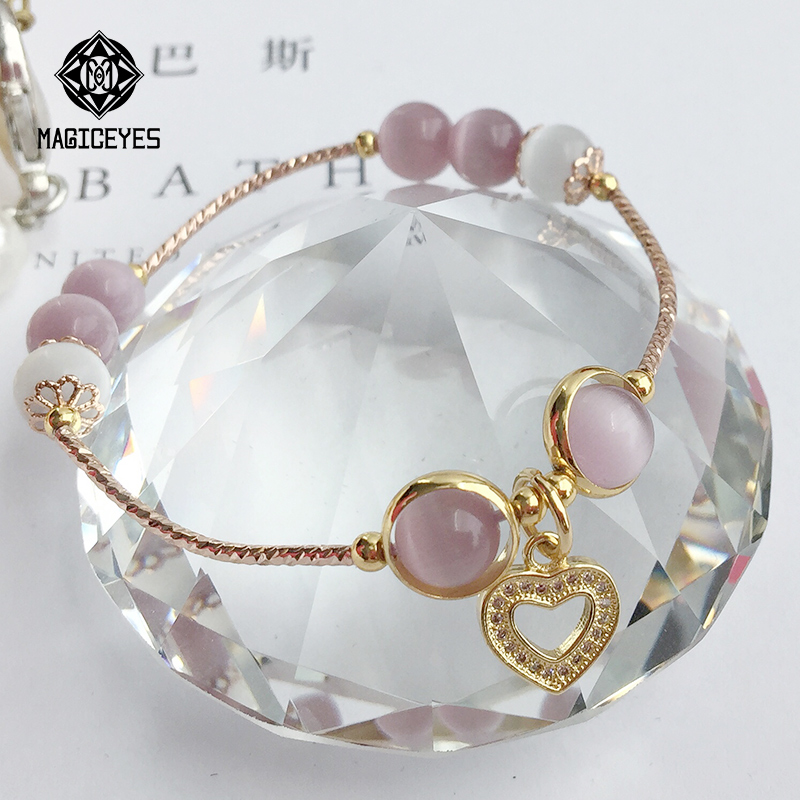 Natural cats Eye Bracelet Gift trembling ins original transfer crystal female recruit tiktok transfer hand string
