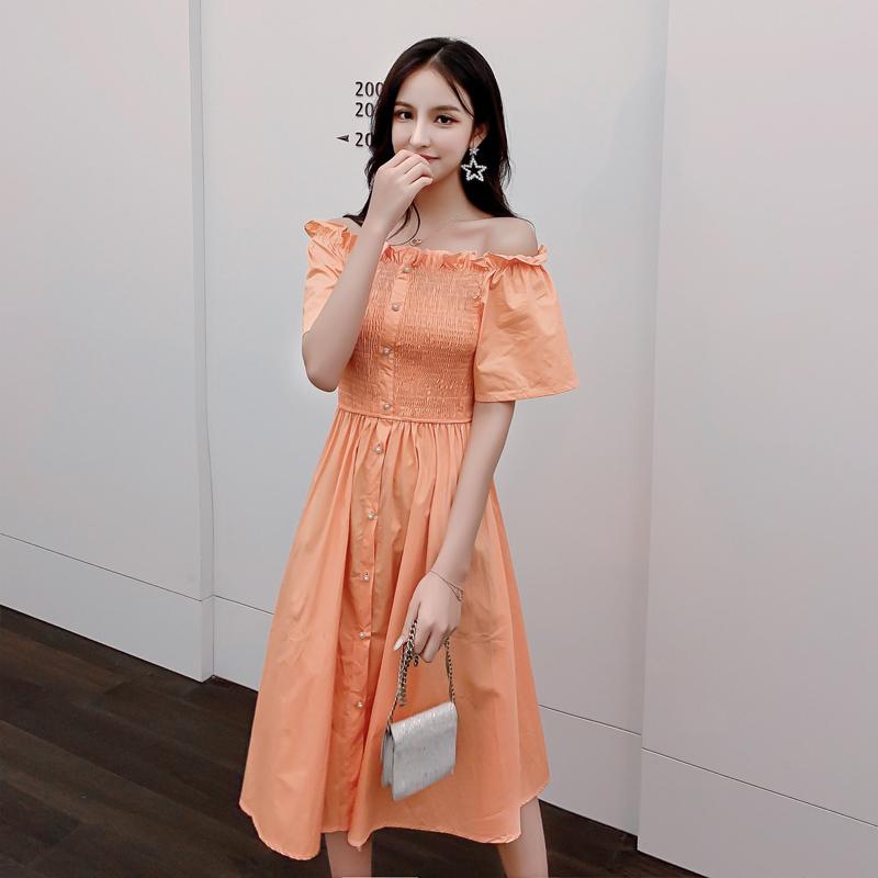 2019流行夏裙子港风一字领夏连衣裙(用1元券)