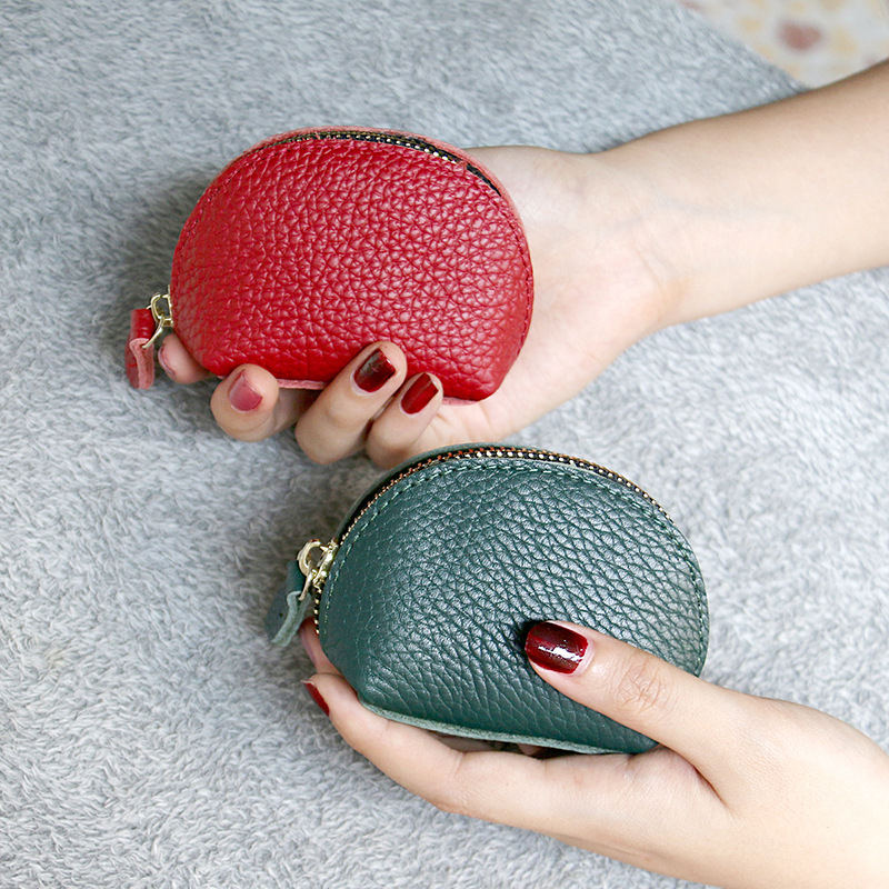 2020 new simple retro Mini zero wallet cowhide purse womens leather dumpling zipper coin pack fashion
