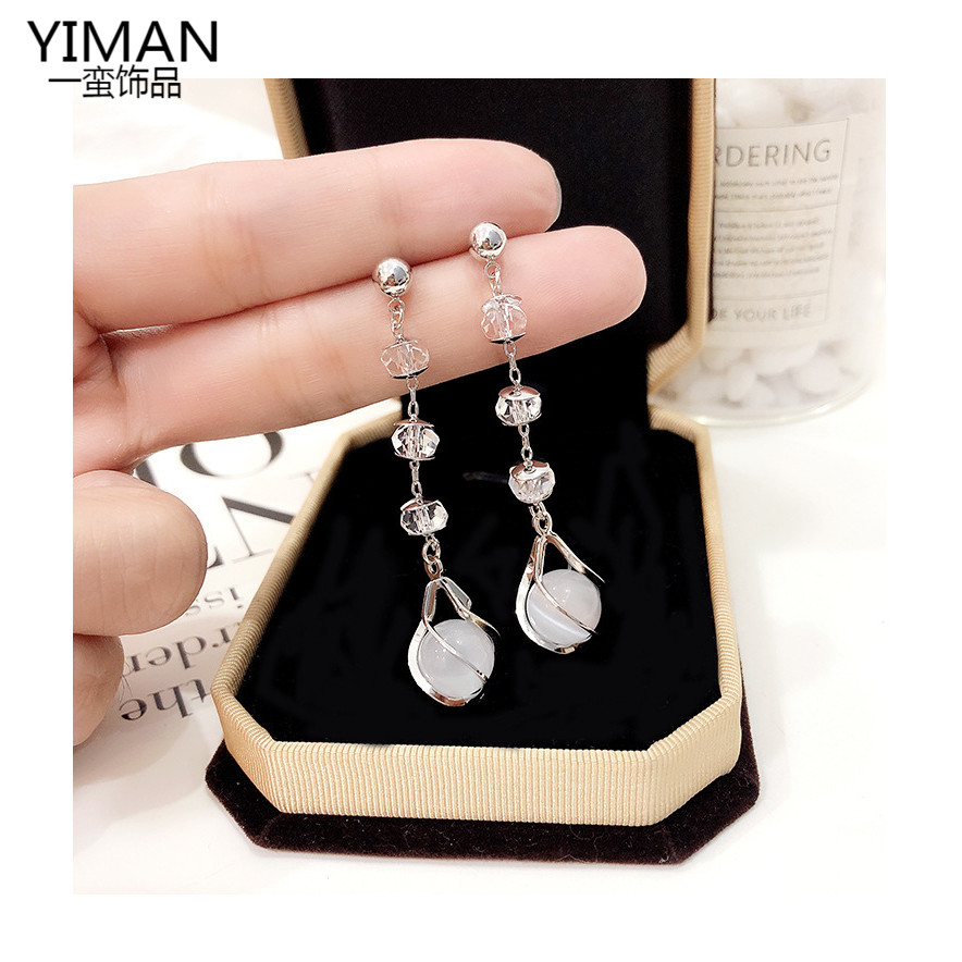 2020 new pure silver pin cats Eye Stone Earrings Fashion Korean Earrings temperament womens long earless earrings earrings