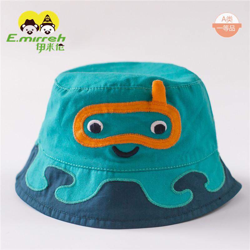 伊米伦纯棉婴儿帽子0-9-12月儿童盆帽渔夫帽薄款男宝宝遮阳帽纯棉