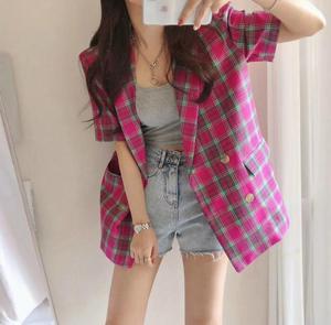 韩国东大门女装2021秋季短袖格子气质双排扣西装外套网红款马甲女