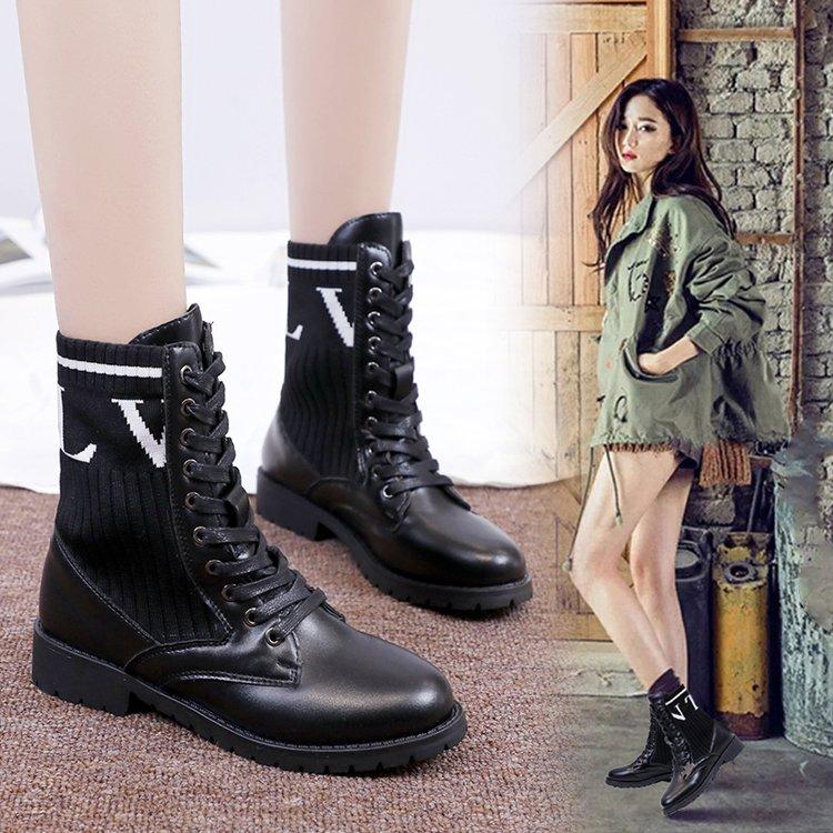 英伦风平底马丁靴女2018新款单靴子ins鞋冬毛线针织百搭系带短靴