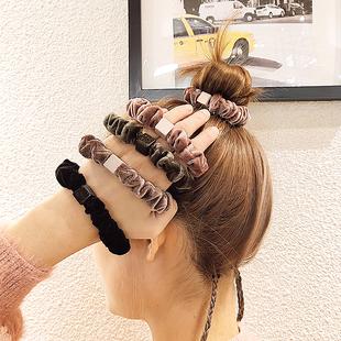 韓國東大門頭繩簡約氣質馬尾大腸圈皮筋女扎頭髮秋冬手鍊兩用髮圈