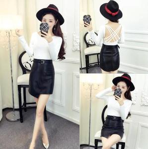 4127#韩版女装长袖性感大露背T+百搭半身裙配腰带女装套装