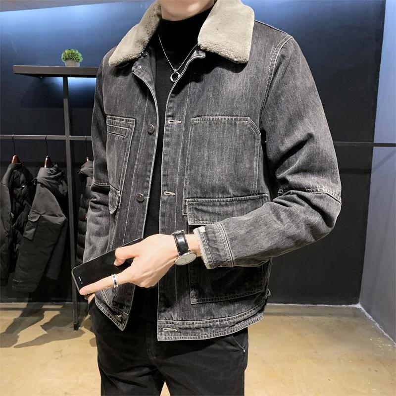 冬款男士牛仔夹克加绒加厚羊羔毛领男外套保暖B317/JK078/P160