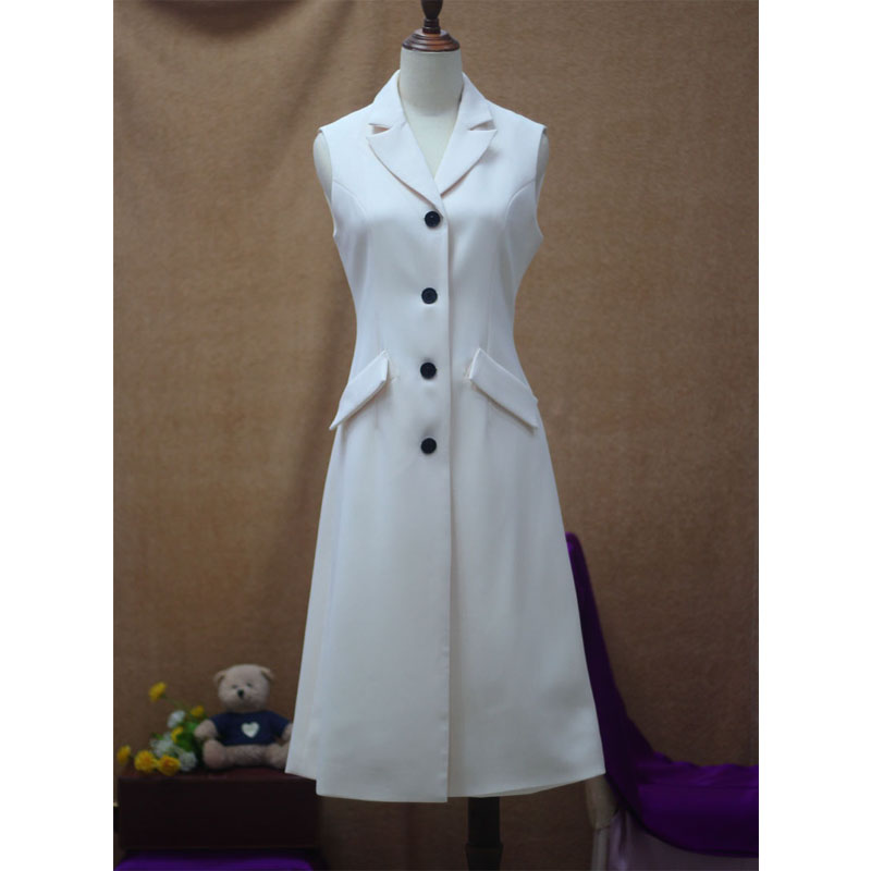 High end suit fabric fashion simple solid color lapel collar single breasted slim waist vest dress women