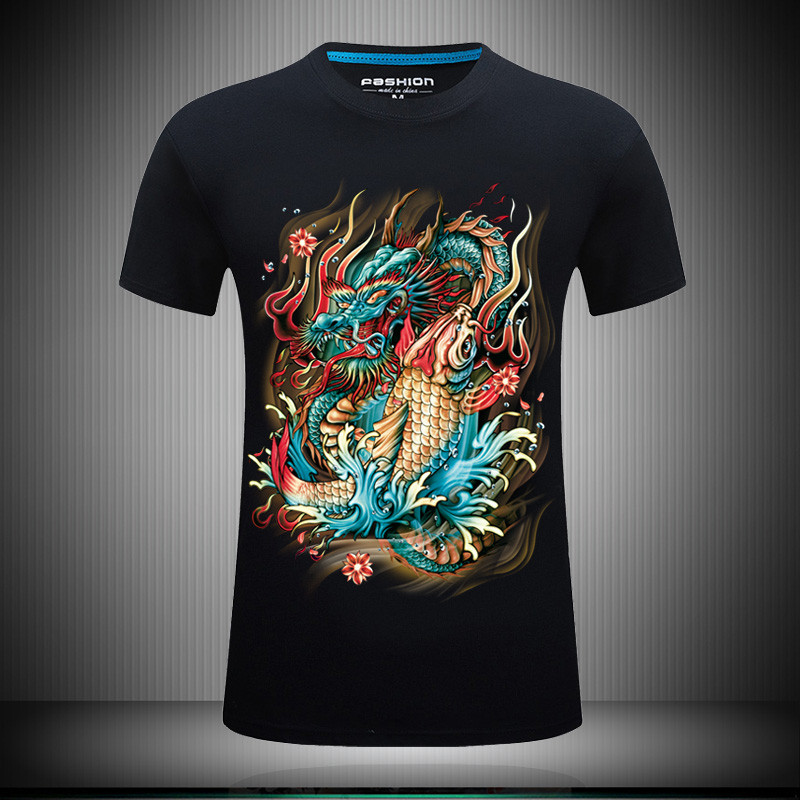 Summer 3D short sleeve t-shirt mens personalized three-dimensional dragon fish pattern plus fat oversize youth half sleeve
