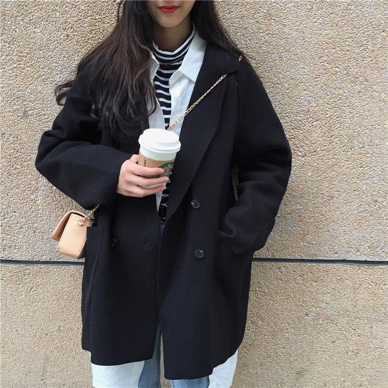 毛呢外套女学生2020新款春秋季韩版bf风百搭黑色小个子呢子大衣女