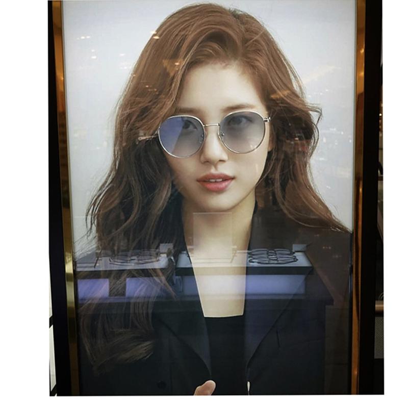 South Korea Xiuzhi same round womens glasses fashion RETRO art trend gradual green 2021 sunglasses sunglasses