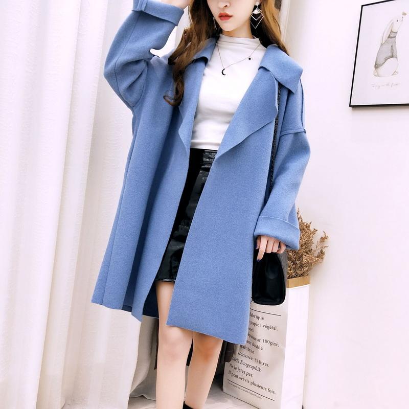 2018秋冬新款韩版气质简约中长款纯色毛呢外套女宽松双面呢子大衣