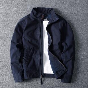 做旧简约纯棉纯色迷彩厚实短款 春秋冬男日韩时尚 修身 立领夹克外套