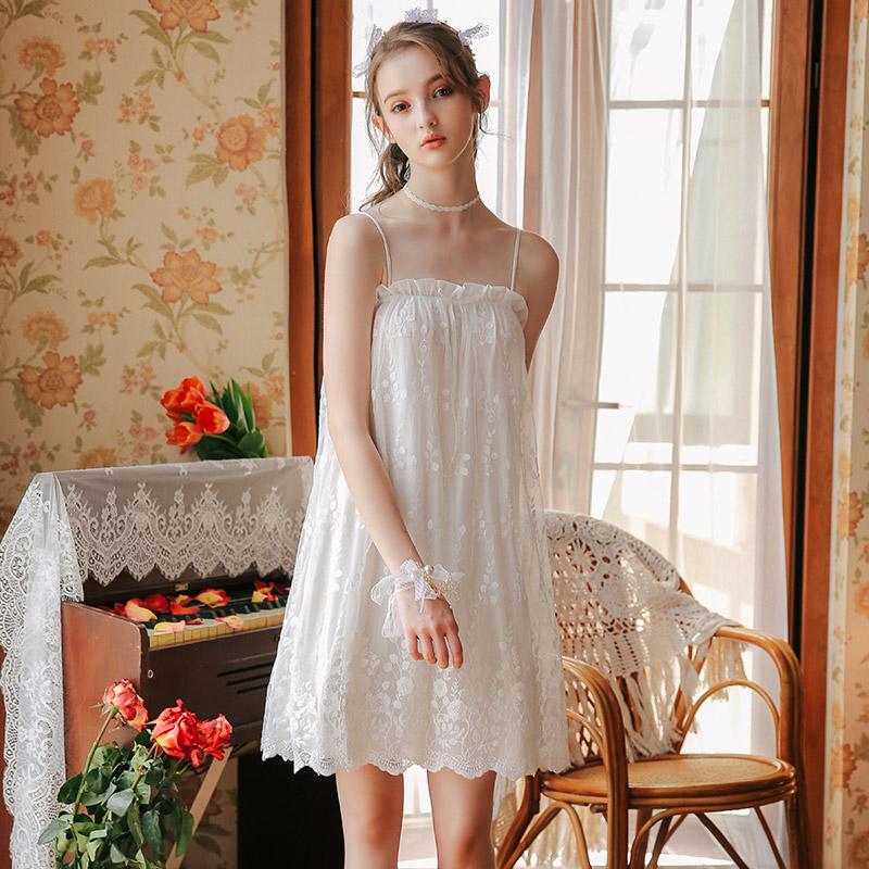 吊带睡裙女夏纯棉性感薄款蕾丝宫廷甜美可爱莫代尔冰丝公主风睡衣68.00元包邮