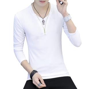 春秋季长袖t恤男士韩版修身打底衫