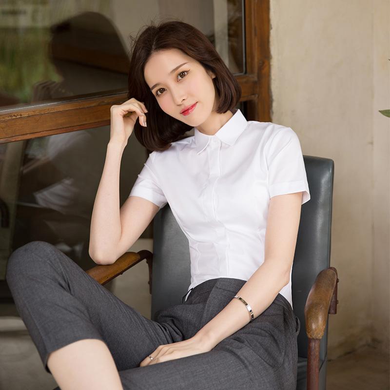 白色衬衫女短袖职业2018新款春夏装工装工作服OL修身正装衬衣棉