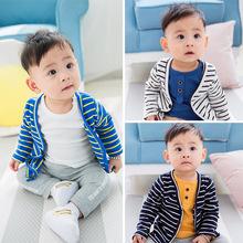 秋冬新款韩版条纹单排扣针织开衫外套男女童装小童幼童3-6-12代发