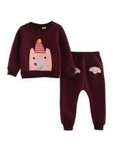 秋冬韩版新款可爱印花小熊加绒卫衣两件套男女童套装小童中童大童