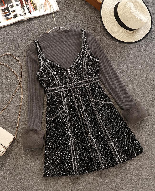 甜美日系VIVI昕薇杂志款洋气针织衫+吊带呢子裙秋冬连衣裙两件套