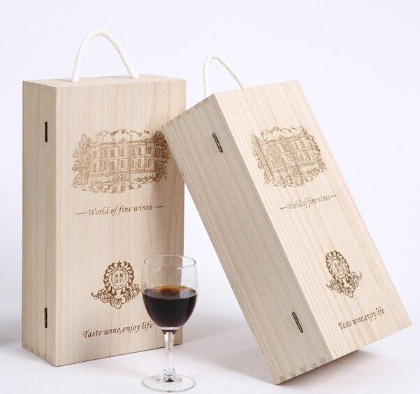红酒盒木盒双支装红酒箱葡萄酒木箱红酒礼盒包装盒实木质木盒定制 Изображение 1