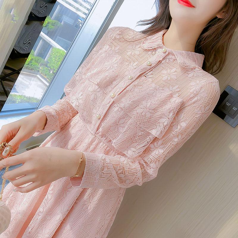 10-15新券秋季长袖蕾丝仙女超仙森系连衣裙子