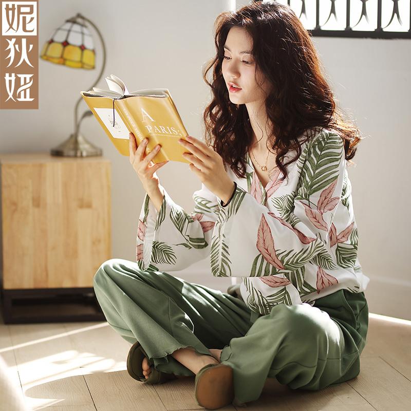 韩版睡衣女春秋纯棉长袖长裤秋季大码套头日式性感宽松家居服套装