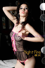 Promotion night fire adult lingerie suit love pink lace pattern gauze gown exposed breast open fork T pants