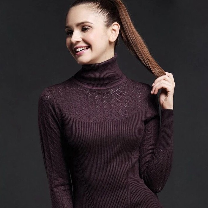 High neck sweater womens pullover in autumn and winter new fit long sleeve with short tight fit foreign air wool knitting bottoming