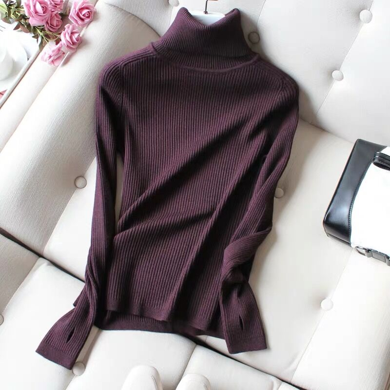 High neck sweater womens new slim fit and tight fit in autumn and winter 2020 with thickened Pullover long sleeve knitted bottoming shirt