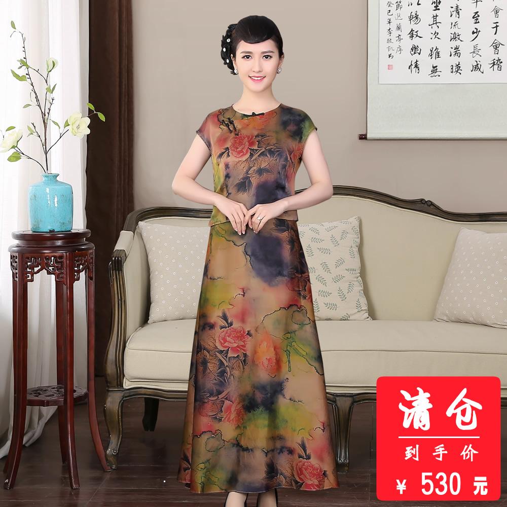 桑蚕丝香云纱套装连衣裙时尚年轻妈妈夏季中年重磅真丝莨绸套裙