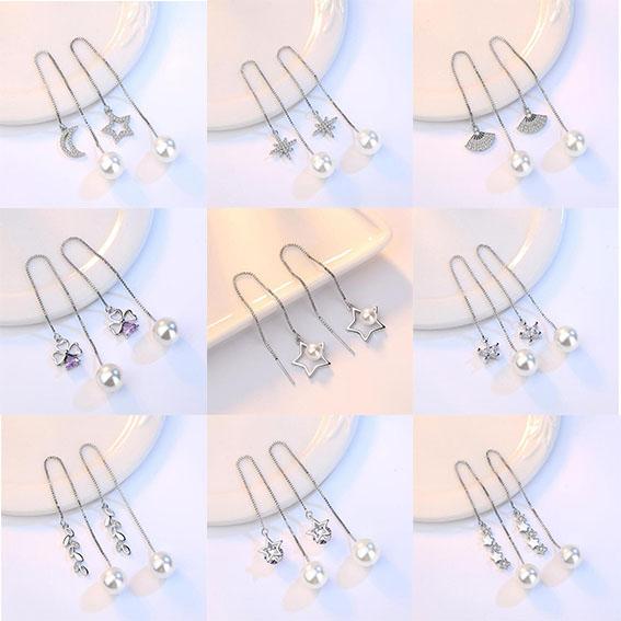 s925純銀個性珍珠耳環長款耳線時尚氣質女流蘇耳墜飾品日韓國首飾