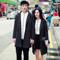 2016冬装韩版情侣呢子外套中长款条子呢大衣日系复古男QY213P50