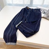 大码裤子女200斤胖妹妹高腰显瘦女装宽松直筒深蓝色牛仔裤春秋