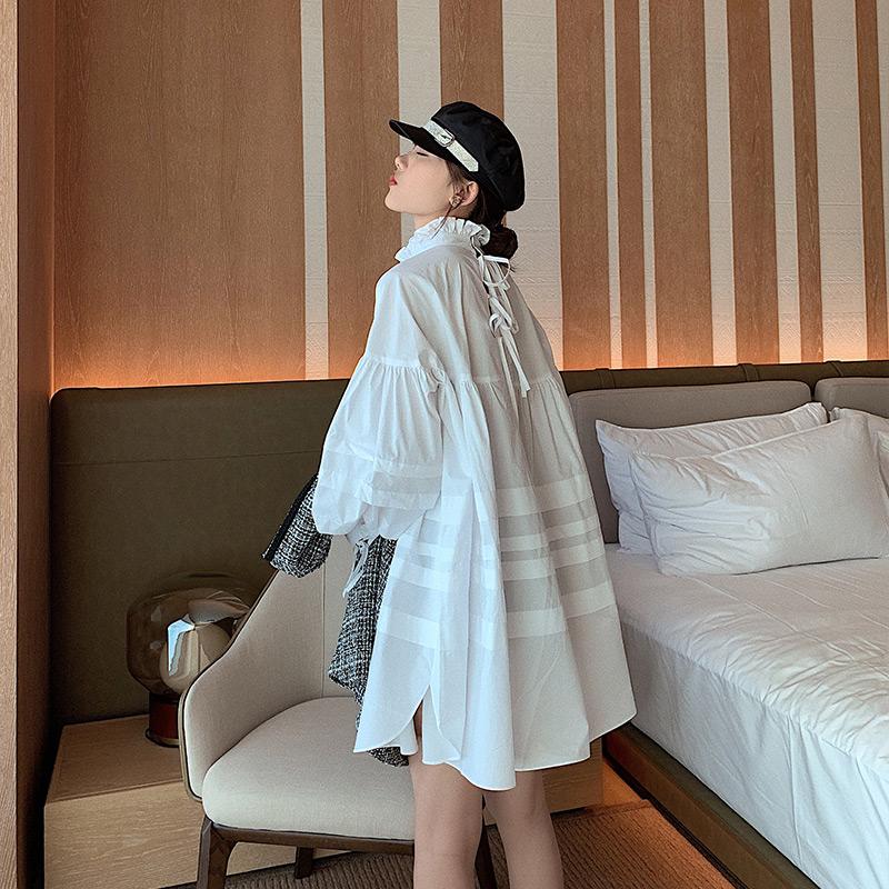 手慢无2019初秋新款法式复古连衣裙设计感娃娃款宽松长袖衬衫裙女网红