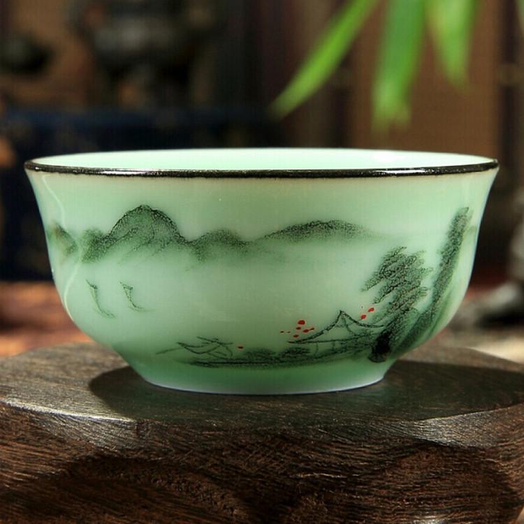 Guangrong hand painted underglaze color transparent inverted cup Gongfu tea landscape carp design personalized cup