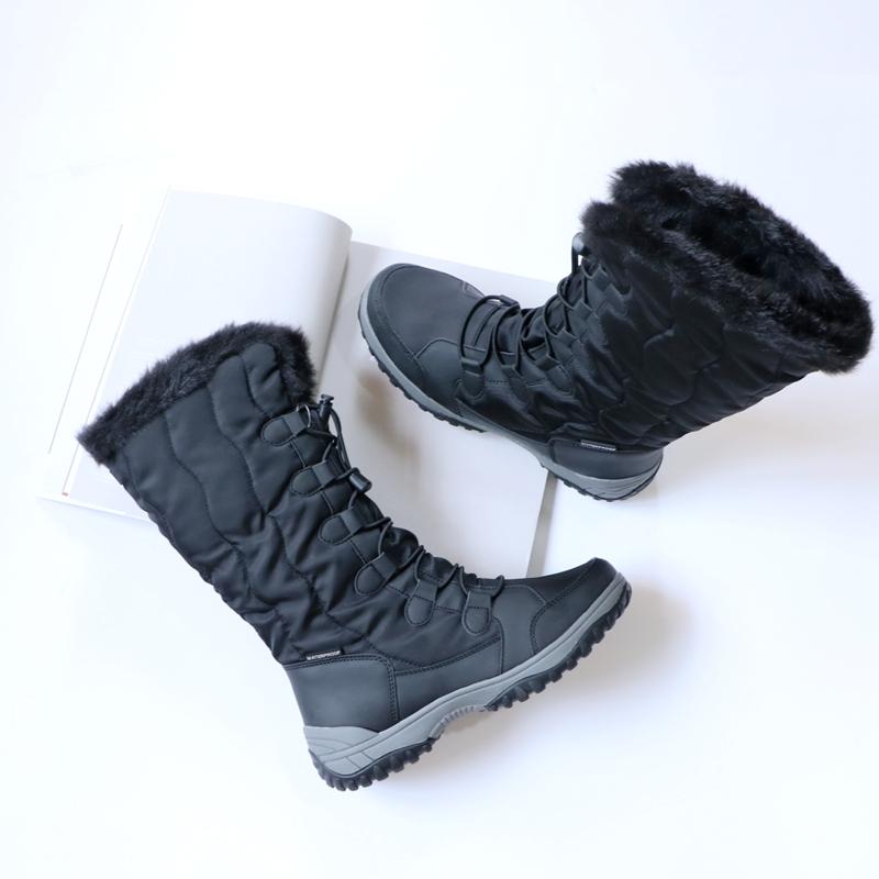Зима новый снег корея теплый высокий к северо-востоку на открытом воздухе снег сапоги геометрическом скольжение женщина катание на лыжах обувной хлопок обувной