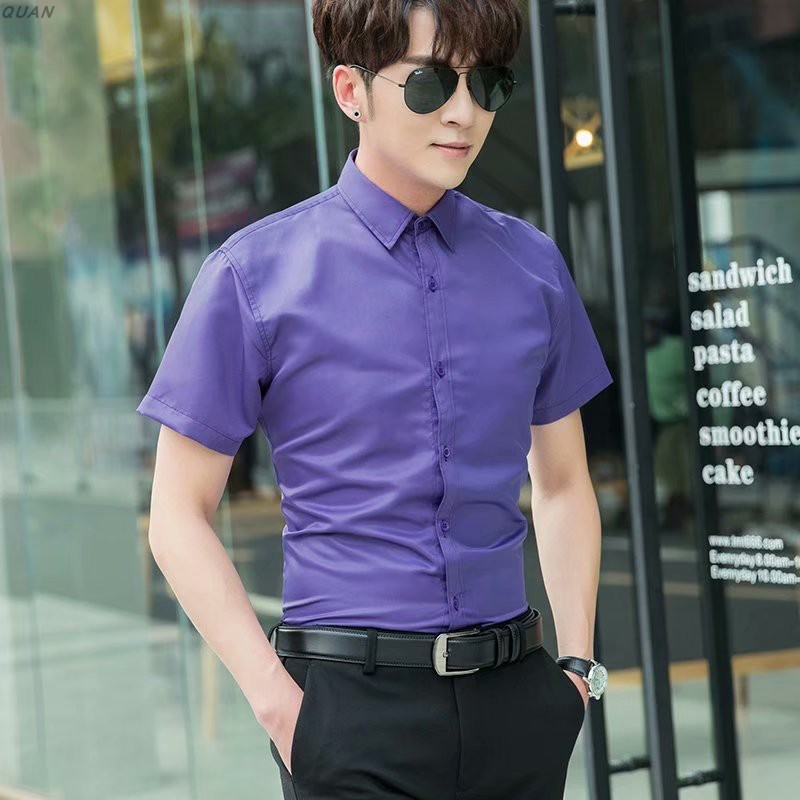 Mens Short Sleeve Shirt thin casual solid color 2020 Korean slim business shirt trend mens formal inch shirt