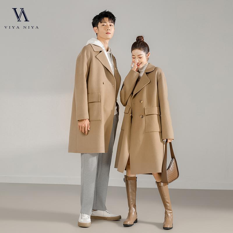 【情侣款女装】长款大翻领气质双排扣双面呢大衣  Y20Y0124