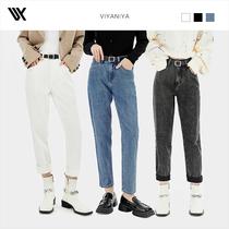 哈伦牛仔裤V213NZK079含腰带哈伦卷边牛仔裤