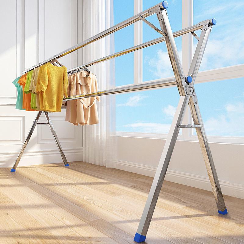 晾衣架落地折叠室内家用阳台室外不锈钢卧室凉伸缩式杆晒被子神器