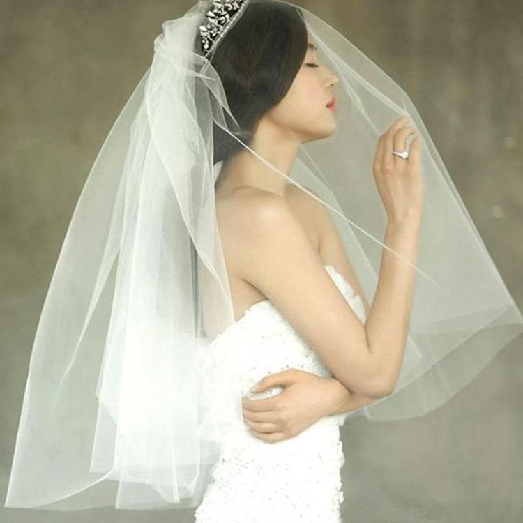 Специальное предложение новый корейский джианна чун звезда невеста свадьба вуаль двойной вставить гребень может крышка поверхность краткое модель вуаль