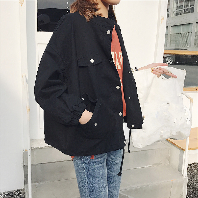 Korean Academy BF Fengxian thin vertical collar tooling black long sleeve short jacket small baseball uniform womens spring and Autumn