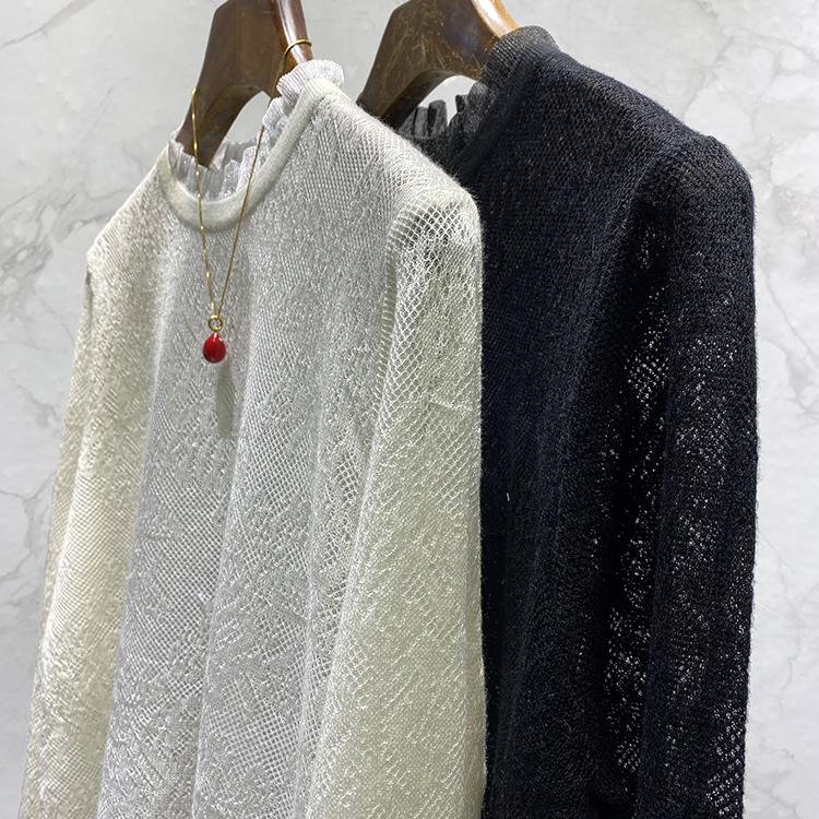 别样的优雅 法式风情 精雕暗纹色织提花网纱木耳边小立领打底衫女