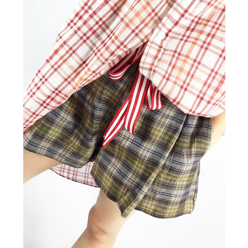 Style station linen late summer 2018 pleated High Waist Wide Leg retro Plaid casual shorts