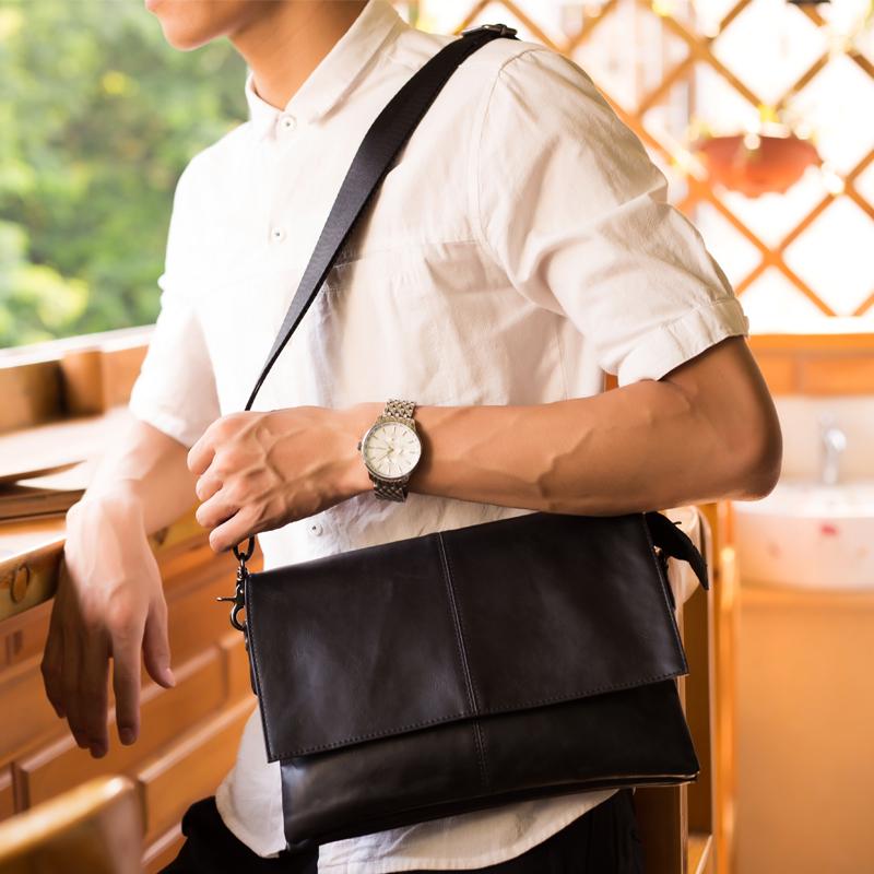 Retro PU leather shoulder bag trendy Backpack Travel Portable mens small bag chest bag mens bag casual messenger bag