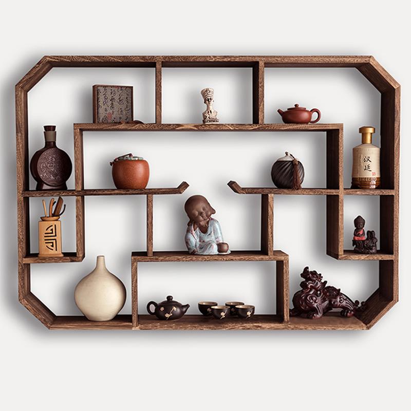 博古架实木中式壁挂式墙上茶壶展示架置物架简约现代多宝阁古董架