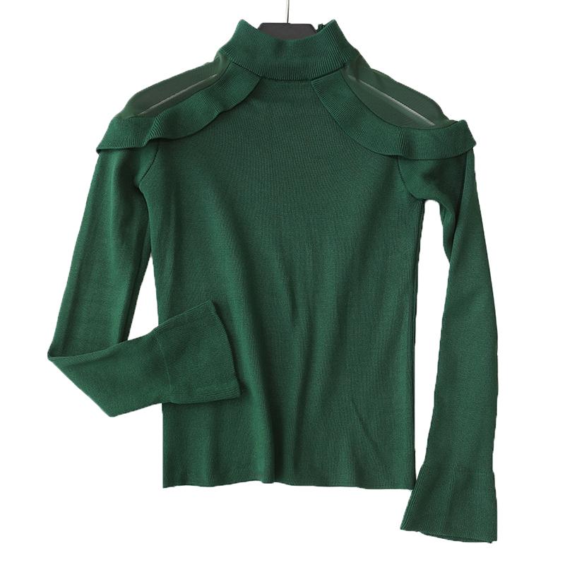 韩版甜美荷叶边网纱露肩长袖针织衫女半高领套头毛衣修身打底衫冬