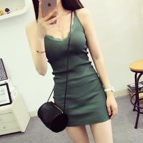 韩版蕾丝花边V领针织吊带连衣裙修身显瘦包臀无袖打底裙女背心裙